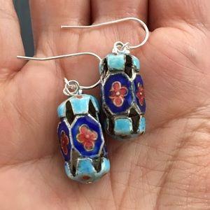 Antique enamel & solid 925 earrings